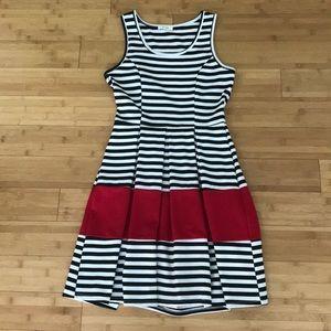 Black and white stripe A-line pleated tank dress